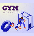 cartoon men doing workout lesson in gym vector image vector image