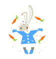 christmas rabbit and falling carrots flat vector image vector image