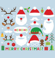 christmas set santa claus photo booth props vector image vector image