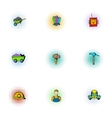 Colliery icons set pop-art style vector image vector image