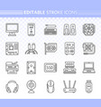 computer simple black line icons set vector image vector image