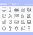 computer simple black line icons set vector image