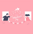 couples send love in the window for valentine day vector image vector image