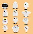 cute sticker collection halloween ghosts vector image vector image
