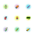 Electronic cigarette icons set pop-art style vector image vector image