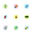Electronic cigarette icons set pop-art style vector image