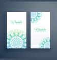 elegant mandala white cards background vector image