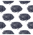 emperor angelfish pattern in hand-drawn style vector image
