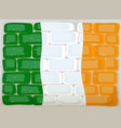 flag of ireland painted on wall vector image vector image