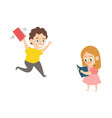 flat boy running with book girl reading vector image vector image