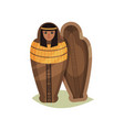 flat icon of empty egyptian sarcophagus vector image