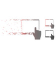 fragmented pixel halftone hand points mobile vector image vector image