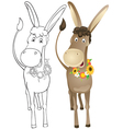 Fun outline donkey vector image vector image