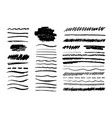 grunge pencil line scribble chalk brush black vector image