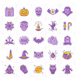 halloween icon set colorful halloween icons thin vector image