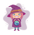halloween little witch girl kid in halloween vector image vector image