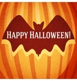 Happy halloween greeting card with bat carved in vector image vector image