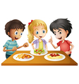 Kids watching the table with foods vector image vector image