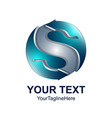 letter s logo design template colored silver blue vector image