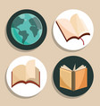 literacy day icon set vector image vector image