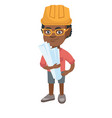 little african engineer boy holding paper plans vector image