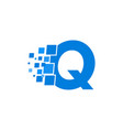 logo letter q blue blocks cubes vector image