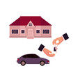 Male hands giving and taking a key car and house