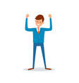 man happy because of success successful boss vector image vector image