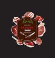 meat butcher shop background poster vector image vector image