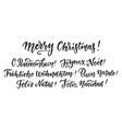 merry christmas in different languages hand drawn vector image vector image