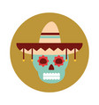 mexican skull with hat traditional decoration vector image