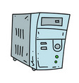 old computer cartoon hand drawn image vector image