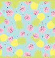 pattern with pineapple and flowers vector image vector image