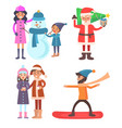 people icons winter collection vector image vector image