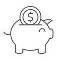 piggy bank thin line icon finance and economy vector image vector image