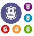 police badge icons set vector image