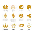 popular cryptocurrency bitcoin blockchain vector image vector image