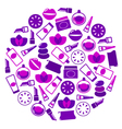 purple cosmetics icons vector image vector image