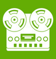 retro tape recorder icon green vector image