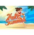 Running woman hello summer vector image
