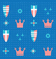 seamless pattern with crowns and shields vector image