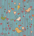 Seamless Valentine Background with Birds and vector image vector image