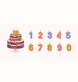 set isolated burning number shaped candles for vector image