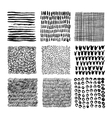 Set of hand drawn seamless textures with scribbles vector image