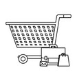 shopping online and advertising in black and white vector image