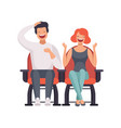 smiling couple sitting in cinema theatre and vector image