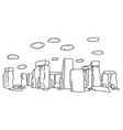 stonehenge with clouds sketch vector image vector image