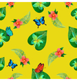 Tropical Flowers Floral Background Seamless vector image vector image