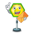with envelope cartoon traffic sign on traffic road vector image