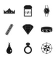women jewelry icon set simple style vector image vector image
